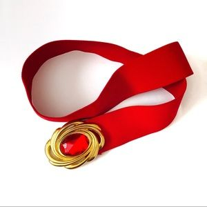 Vintage | Day Lor Ruby Red Stretch Clasp Belt